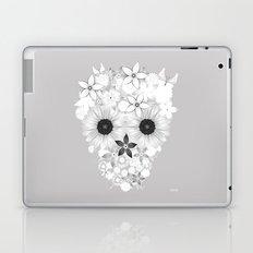 Skull Flowers white - grey Laptop & iPad Skin