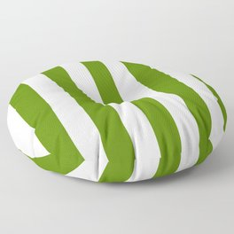 Avocado green - solid color - white vertical lines pattern Floor Pillow