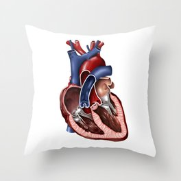 Cross section of human heart. Throw Pillow