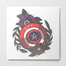 Superhero Tattoo: Cap Metal Print