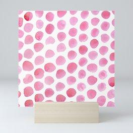 Pink Polka Dot Watercolour Mini Art Print