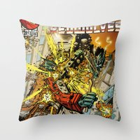 transformers Throw Pillows featuring transformers by Haribow
