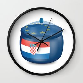 Flag of Croatia. Saucepan with a translucent cover. The symbol of the European Union. Wall Clock