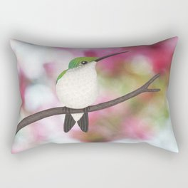 ruby throated hummingbird - female on pink bokeh Rectangular Pillow