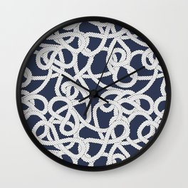 Nautical Rope Knots in Navy Wall Clock