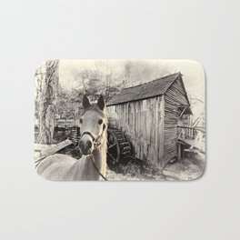 Horse At The Old Mill Bath Mat