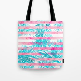 Modern pink turquoise tropical palm tree watercolor stripes pattern Tote Bag