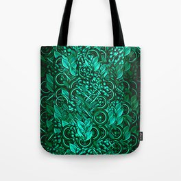 Leafy pattern in Turquoise Tote Bag