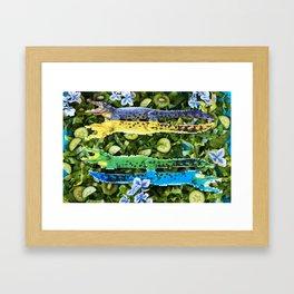 Crocodiles in a green salad Framed Art Print