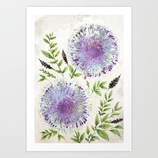 Dandelions Aquamarine Mauve Art Print