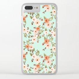 Rose I, Watercolor Mint & Orange Clear iPhone Case
