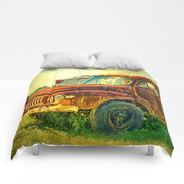 Old Rusty Bedford Truck Comforters