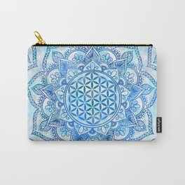 Flower of Life in Lotus - Gentle Sky Blue Carry-All Pouch