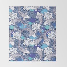 Blue Koi Ripples Throw Blanket