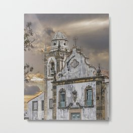Exterior Facade Antique Colonial Church Olinda Brazil Metal Print