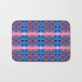 Vintage Modern African Fabric Print Cool Tones Bath Mat