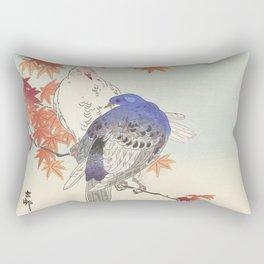 Two pigeons on autumn branch - Ohara Koson (1900-1936) Rectangular Pillow