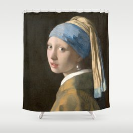 Johannes Vermeer - Girl with the pearl earring (1665) Shower Curtain