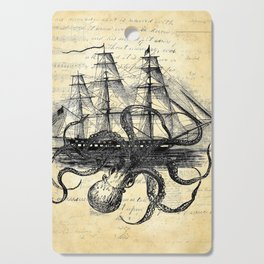 Kraken Octopus Attacking Ship Multi Collage Background Cutting Board