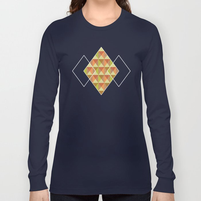 Triangle Diamond Grid Long Sleeve T-shirt