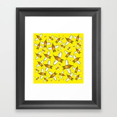 Bees pattern in yellow Framed Art Print