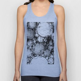 Glitch Black & White Circle abstract Unisex Tank Top