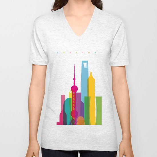 Shapes of Shanghai. Accurate to scale Unisex V-Neck