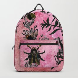 Vintage Bees with Toadflax Botanical illustration collage Backpack