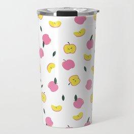 Pink Apples Pattern Travel Mug