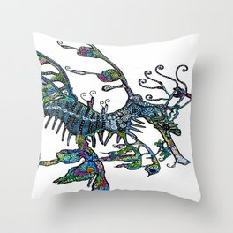 Leafy Seadragon I original illustration by Sheridon Rayment. Throw Pillow