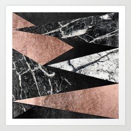 Elegant Modern Marble, Rose Gold, & Black Foil Triangles Art Print
