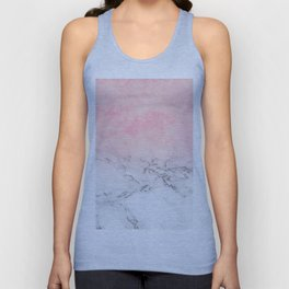 Modern blush pink watercolor ombre white marble Unisex Tank Top
