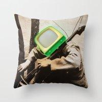bass Throw Pillows featuring Bass TV by Marko Köppe