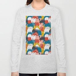 Cats Crowd Pattern Long Sleeve T-shirt