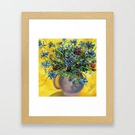 Cornflowers in the violet vase. Framed Art Print