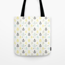 Geometrical gray yellow blue modern leaves Tote Bag