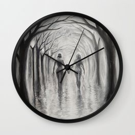 A walk to remeber during a rainy day Wall Clock