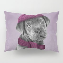 Drawing Puppy Cane Corso in hat and scarf Pillow Sham