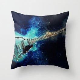 Electric Blue Guitar Throw Pillow