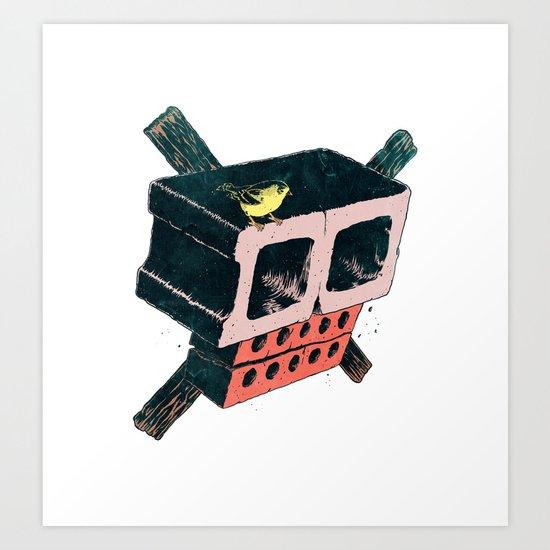 Brick Crossbones and a Bird Art Print