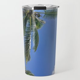 Palm trees, blue sky Travel Mug