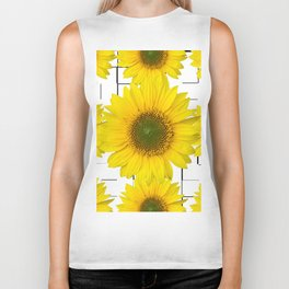 Sunflowers on a squar pattern white background #decor #society6 Biker Tank