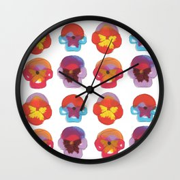 Colorful abstract pansies Wall Clock