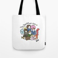 breakfast club Tote Bags featuring The Breakfast Club by Doll