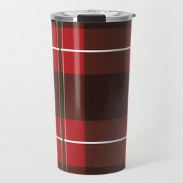 Red, Black and Green Striped Plaid Travel Mug