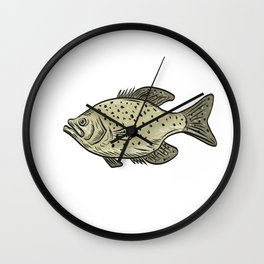 Crappie Fish Side Drawing Wall Clock