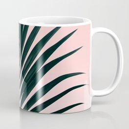 Tropical Green palm tree leaf blush pink gradient photography Coffee Mug