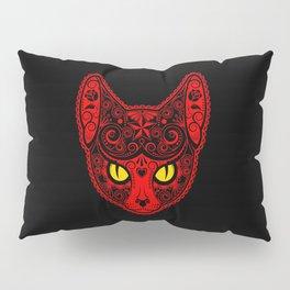 Red Day of the Dead Sugar Skull Cat Pillow Sham