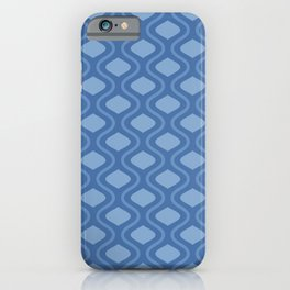 Moroccan Mid Century Lattice Pattern // Denim Blue iPhone Case