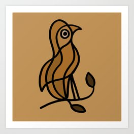 Bird on a Twig in Brown Colors Art Print